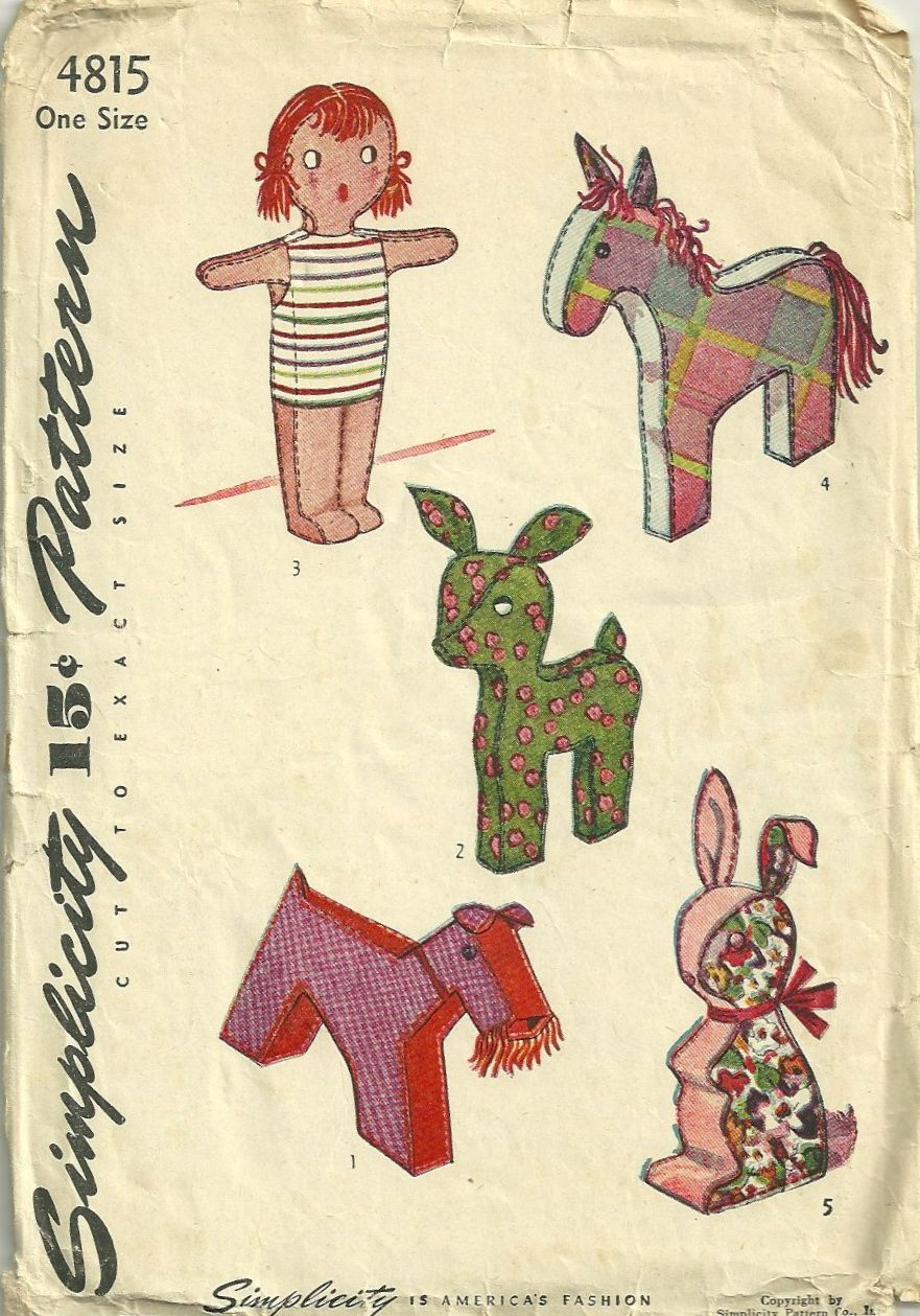 Simplicity 1940s Stuffed Toys   Vintage Patterns Toys   Sewing toys ...
