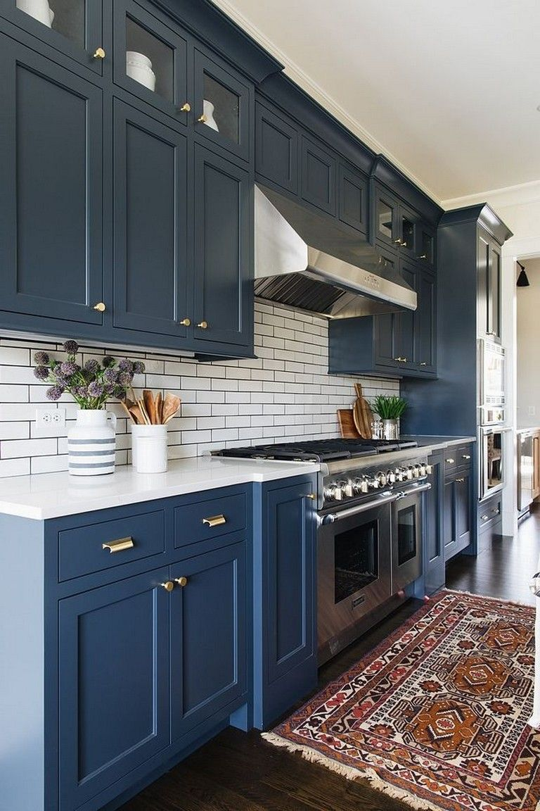 25 Beautiful Kitchen Color Ideas That Will Refresh Your Eyes Beautiful Kitchen Cabinets Blue Kitchen Designs Kitchen Colors