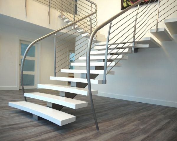 Unique Handrail Design Adds Further Charm To This Floating - Suspended style floating staircase ideas for the contemporary home