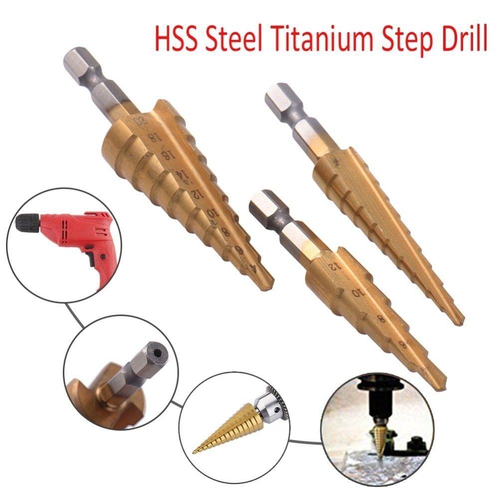 3pc Titanium Coated Step Drill Bit Set unibit sae cone hole cutter Quick Change