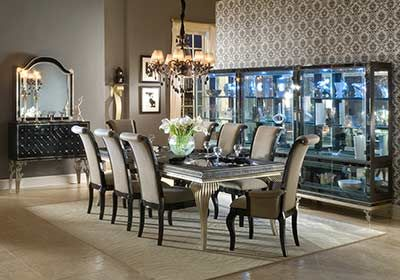 Hollywood Swank Dining Table In Black Silver Finish By Aico Dining Room Table Centerpieces