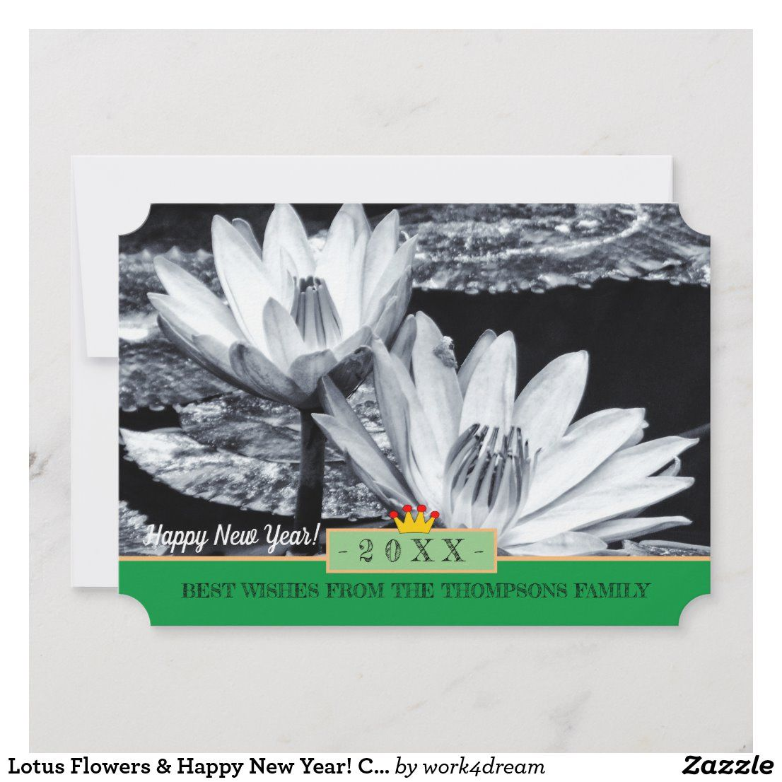 Lotus Flowers & Happy New Year! Card /Asia in