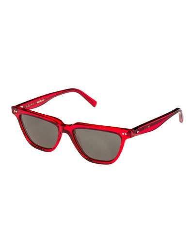 2c63d2934776 Celine Cat-Eye Monochromatic Acetate Sunglasses Red Pattern