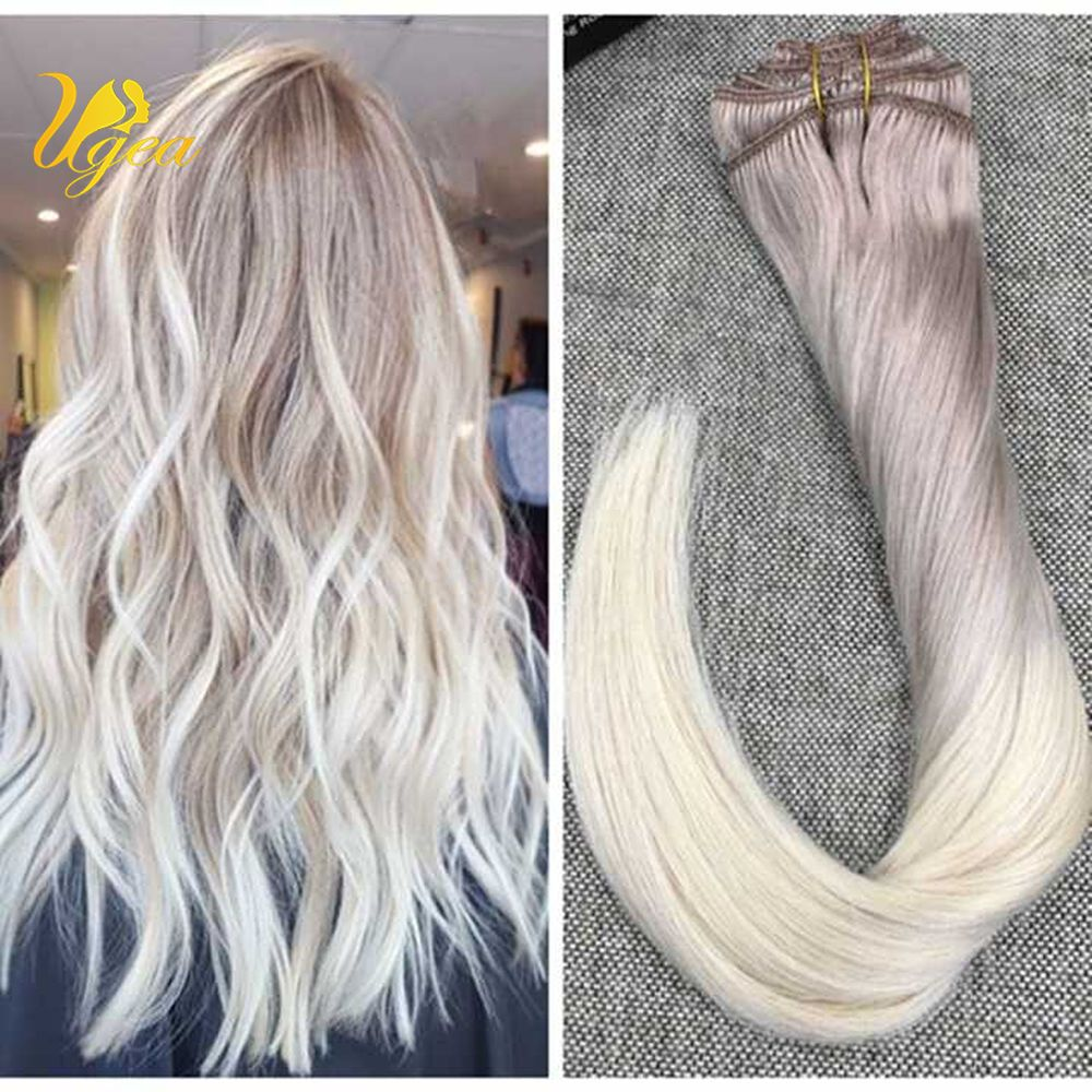 Ugea 9pcs Ombre Clip In Remy Human Hair Extensions Ash Blonde To