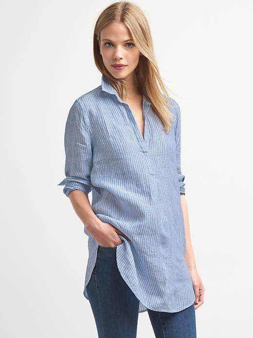 7adc8bd2209 Gap Womens Linen Stripe Popover Tunic Blue Stripe Size XXL ...