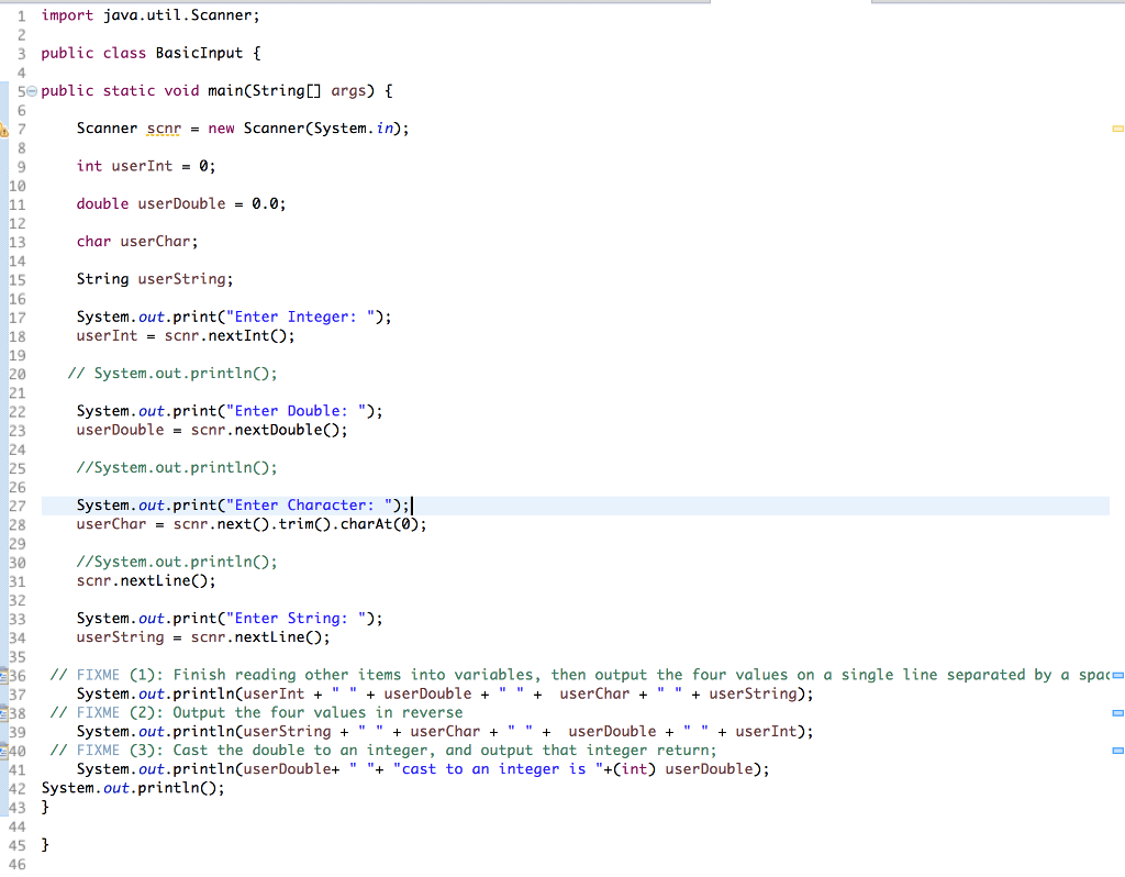 Solved) - 2 19 Warm up: Variables, input, and casting (Java