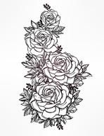 Vintage floral highly detailed hand drawn rose flower stem with roses and leaves. Victorian