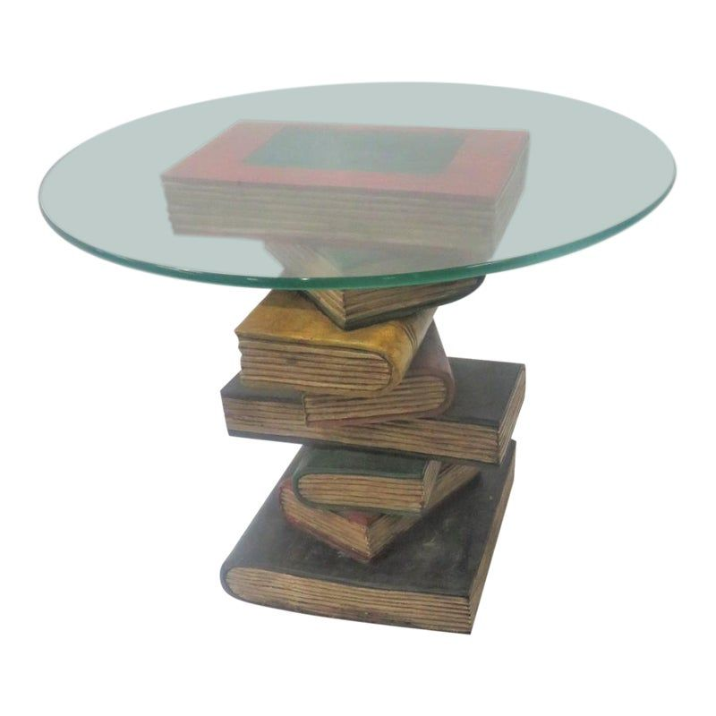 Glass Top Wood Carved Book Stack Side Table In 2020 Stack Of