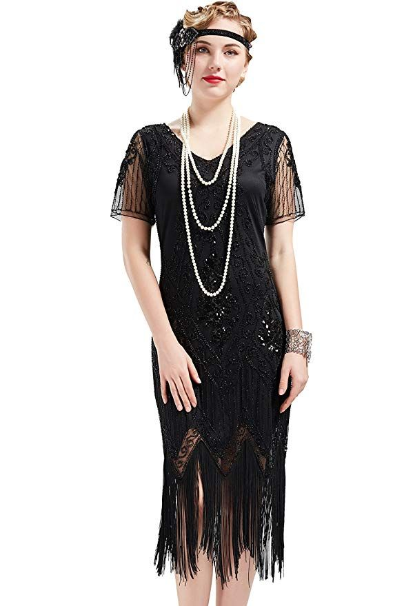 Amazon.com: BABEYOND 1920s Art Deco Fringed Sequin Dress ...