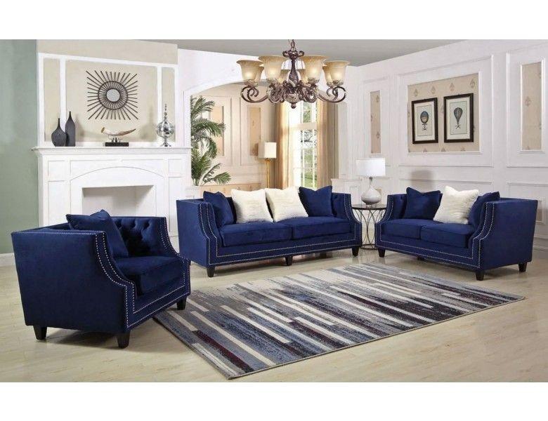 Jonas Navy Blue Velvet Sofa 3 Piece Living Room Set Contemporary Sofa Set Navy Blue Velvet Sofa