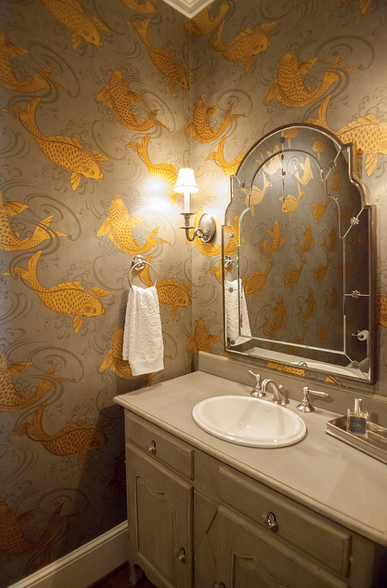 Koi Wallpaper, Transitional, bathroom, Lucy and Company