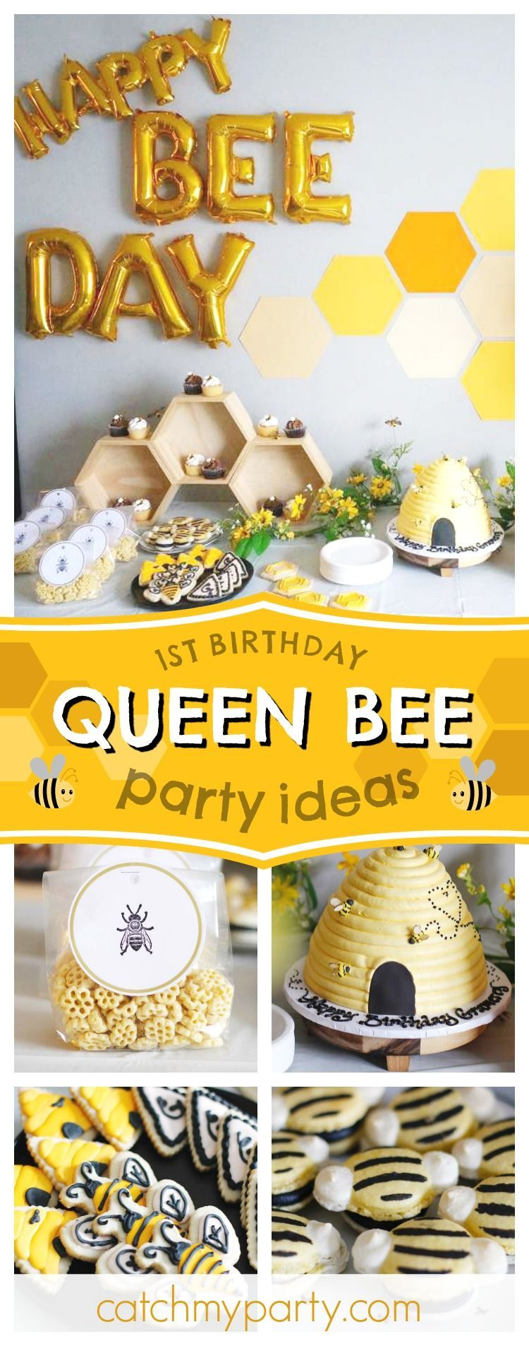 Check out this awesome Queen Bee themed 1st birthday party! The bee hive birthday cake and the bee cookies are wonderful!! See more party ideas and share yours at CatchMyParty.com #catchmyparyy #partyideas #queenbee #1stbirthdayparty #firstbirthdaygirl