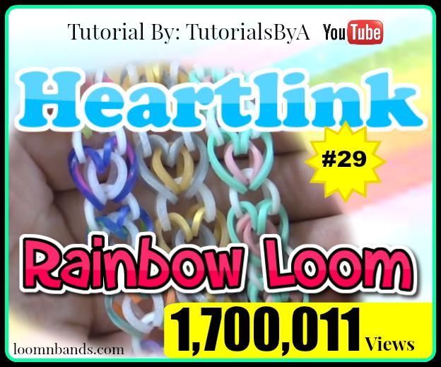 Rainbow Loom #29 Heart Link Bracelet By TutorialsByA