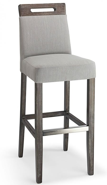 Modomi Grey Fabric Seat Kitchen Breakfast Bar Stool Wooden Frame