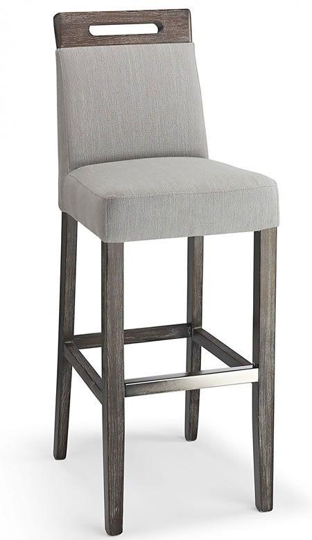 Modomi grey fabric seat kitchen breakfast bar stool wooden frame ...