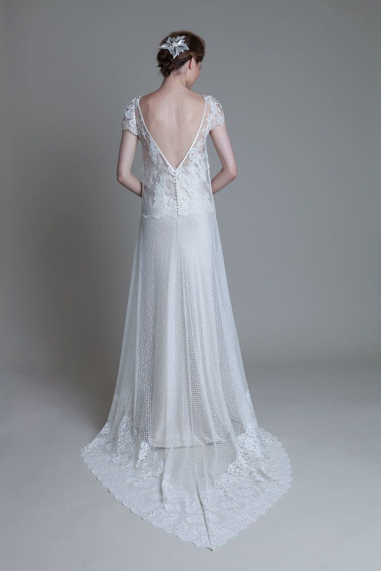 Back view of the Iris Honeycomb with lace cap sleeve and blush Iris ...