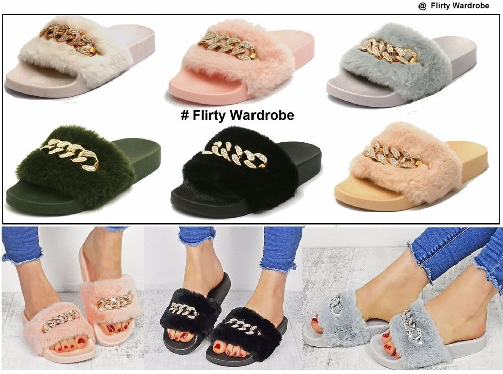 9bf1d6f17b4c67 Womens Diamante Fur Chain Sliders Flip Flop Rubber Slippers Ladies Flats  Shoes  Unbranded  FurSliders