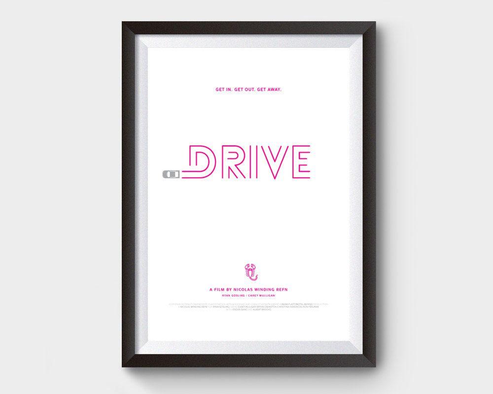 Drive movie poster 12x16 art print film minimalist for 1950s minimalist house