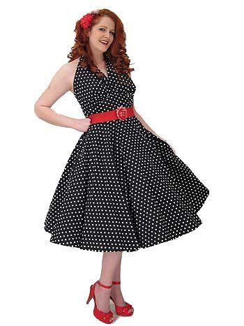 Classic Dame 50s Style Black White Polka Dot Halter Swing Dress ...