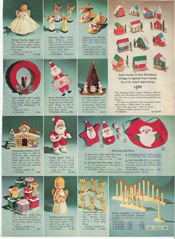 Decorations in Sears Christmas Catalog, 1966 Vintage decorations