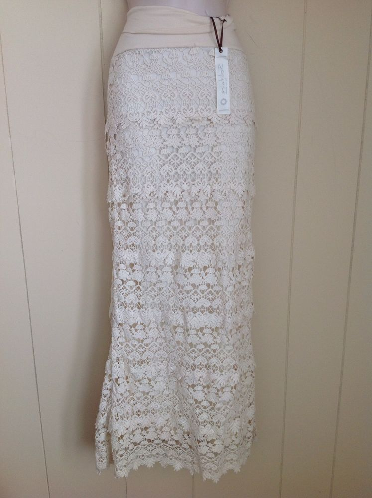 SOLITAIRE CREAM LACE LONG SKIRT SIZE SMALL #Solitaire #Skirt