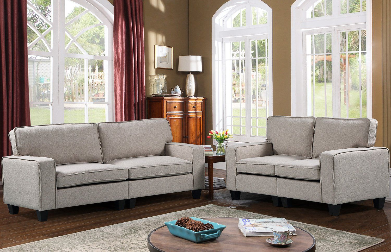 Merax Pp039576 Harperandbright Designs Upholstered 78in Sofa Living Room Loveseat Couch Beige 1 You Can Get E Couch And Loveseat Living Room Sofa Love Seat