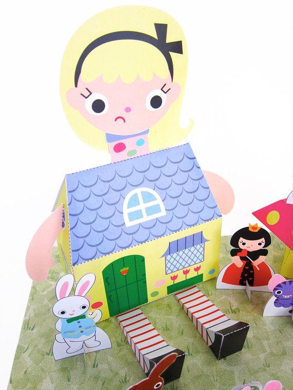 Alice In Wonderland Kawaii Playset Printable Paper Craft Pdf