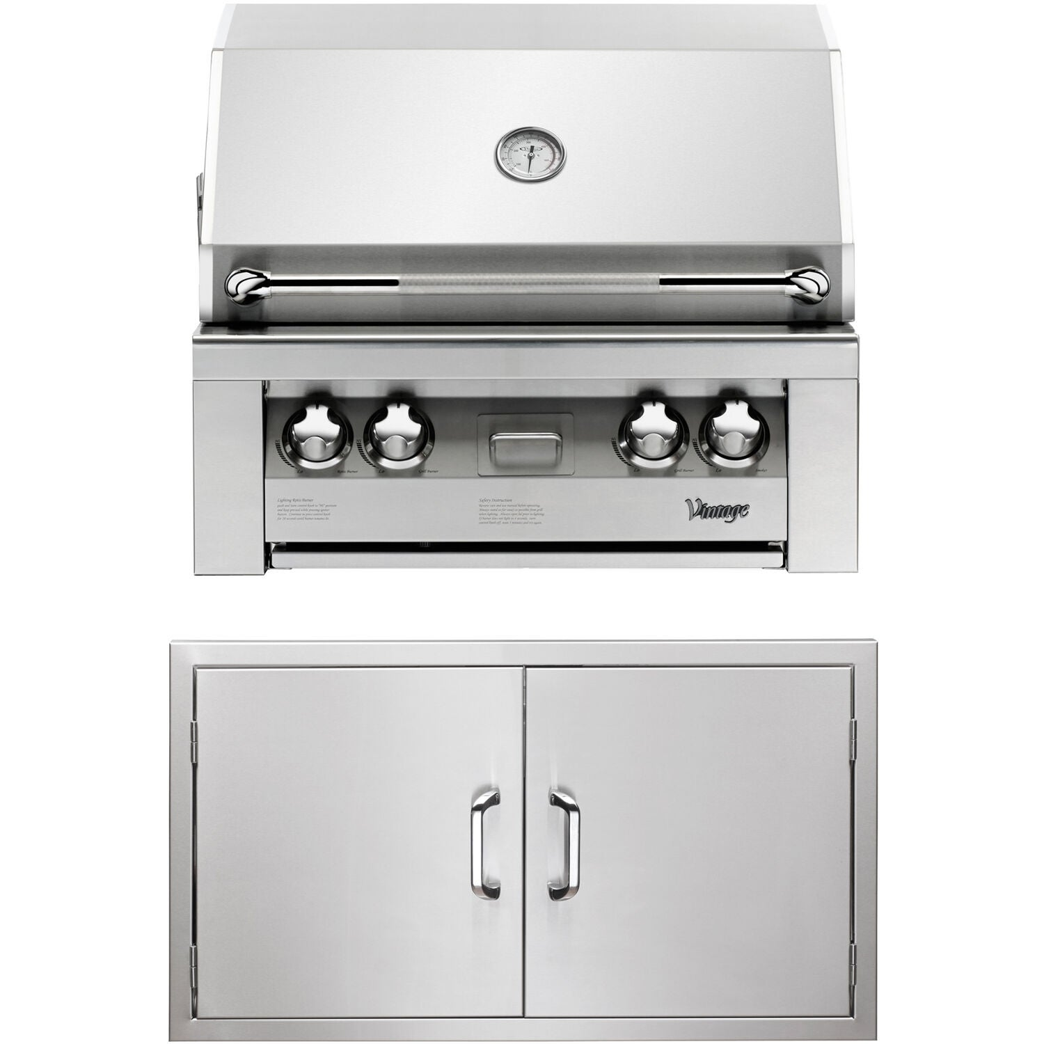 30 In Built In Natural Gas Grill In Stainless With Double Access Doors Red Vintage Stainless Steel Outdoor Kitchen Design Built In Grill Diy Grill