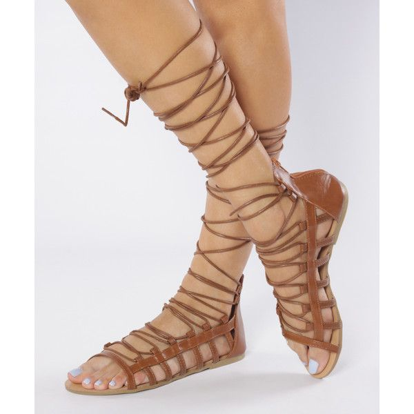 7442b57cd09de Shu Shop Tan Galaxy Strappy Sandal ( 8.29) ❤ liked on Polyvore featuring  shoes