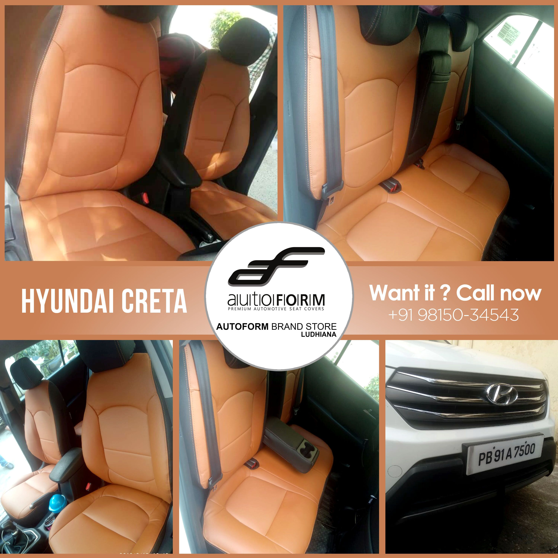 Hyundai Creta Also Has The Tan Black Coloured Riviera Series Branded Car Seat Covers Of Autoform India Brand Store Cars Car Seats Hyundai Carseat Cover