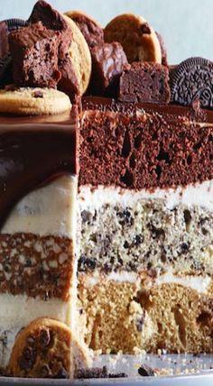 Slutty Brownie Cake (Triple Layered!) - What's Gab