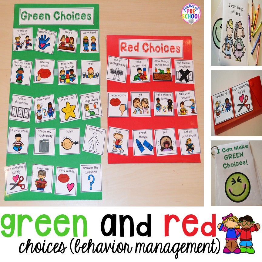 Green and red choice board behavior management