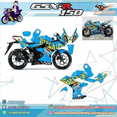 Custom Striping Motor Full Body Suzuki Gsx R150 Thema Cyan Suzuki