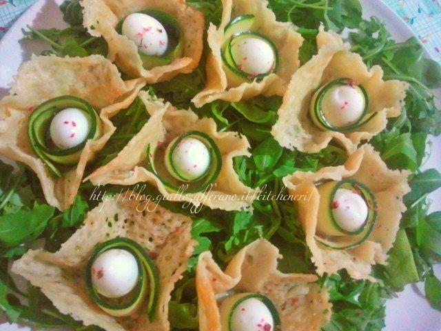 uova di quaglia in cestini di formaggio | in and antipasto - Cucinare Uova Di Quaglia