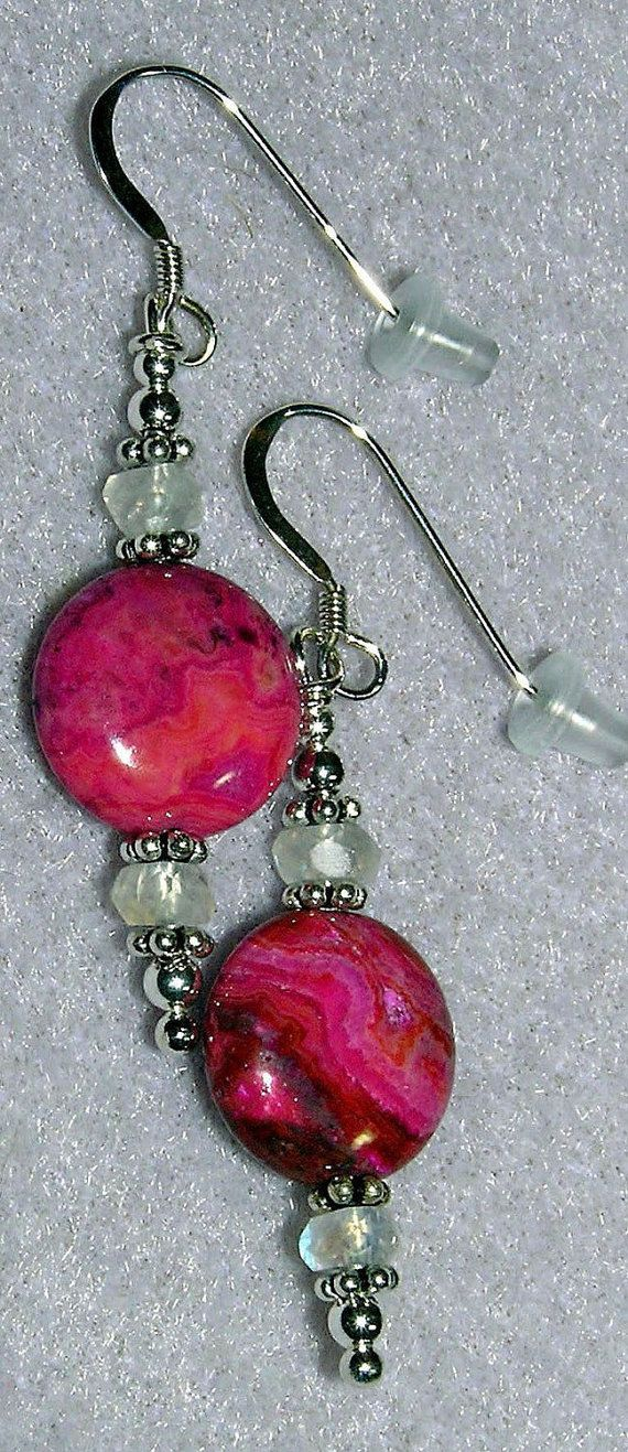 925 Silver Ruby Crazy Lace Agate Moonstone Earrings by dsmenagerie, $15.99