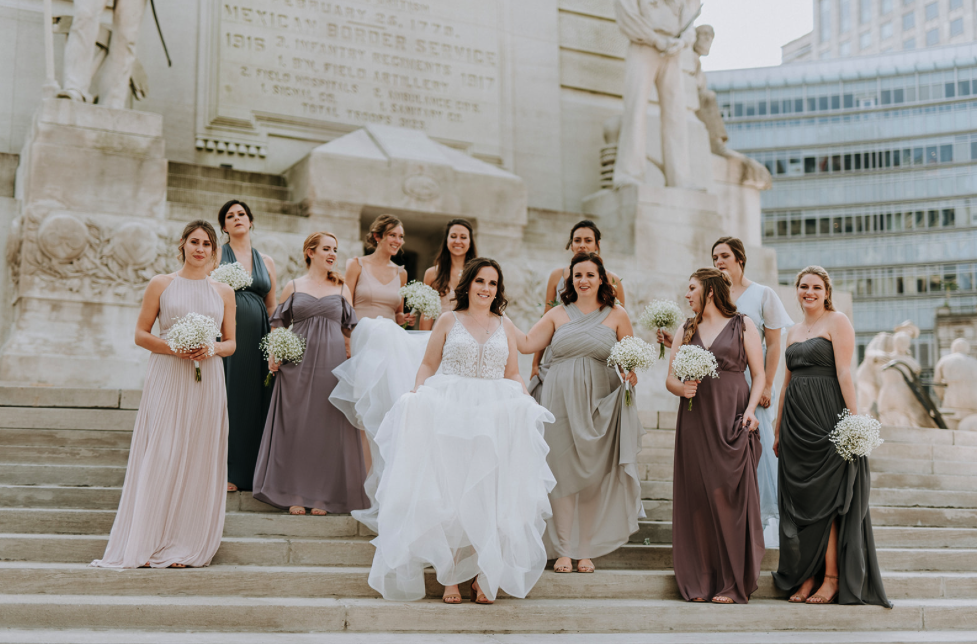 Long Light Pink Dresses With Gray Suits Indianapolis Wedding Photographer Indianapolis Wedding Rose Bridesmaid Dresses