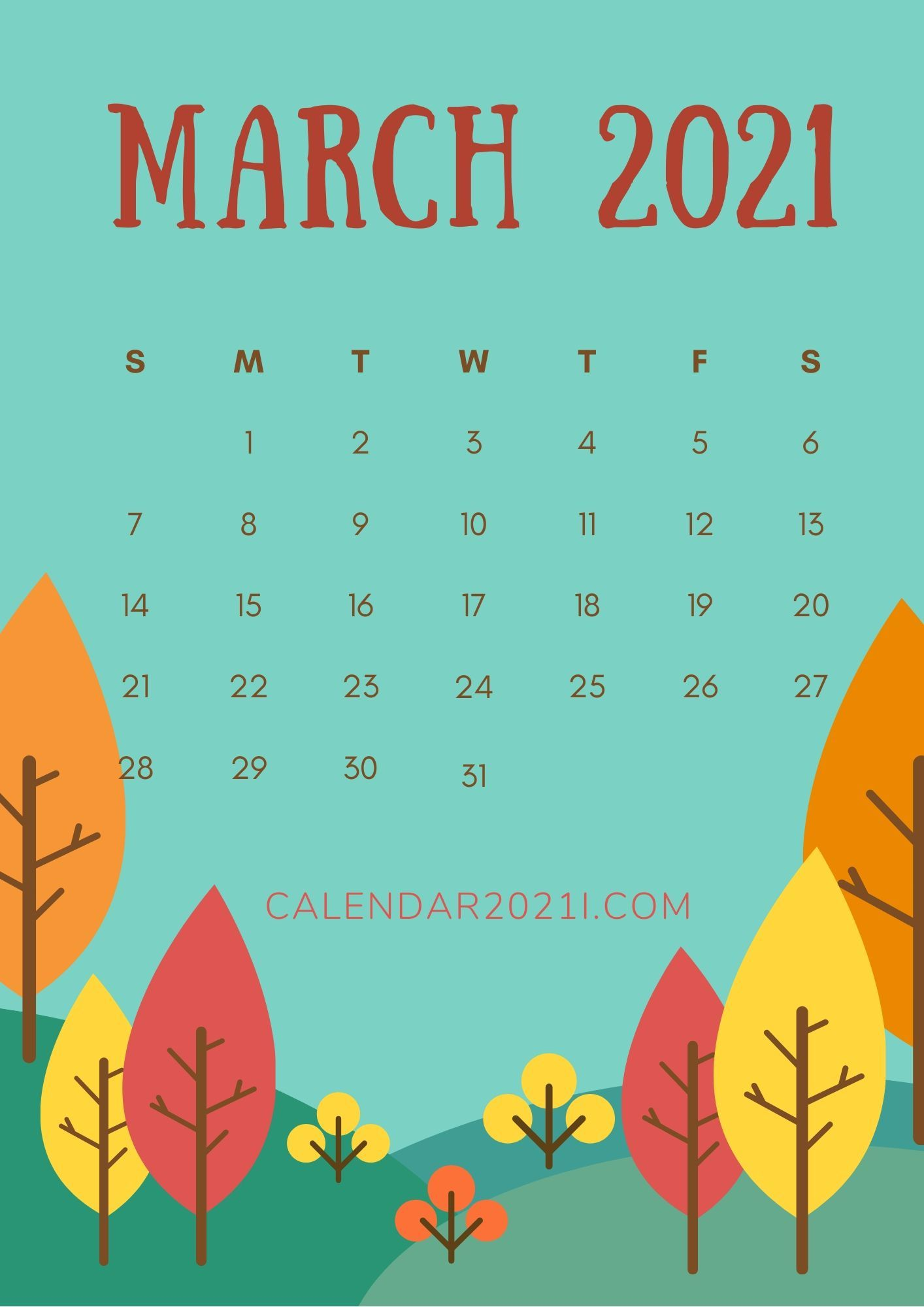 March 2021 Calendar iPhone HD Wallpaper for mobile's