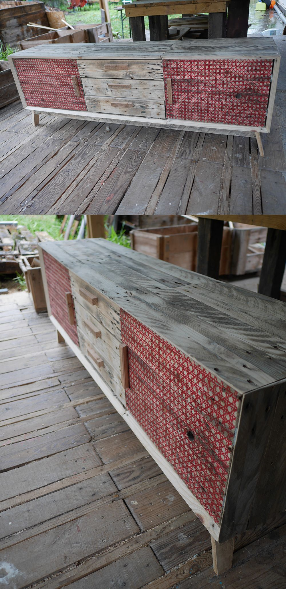 Enfilade en bois de palette porte sérigraphié design et
