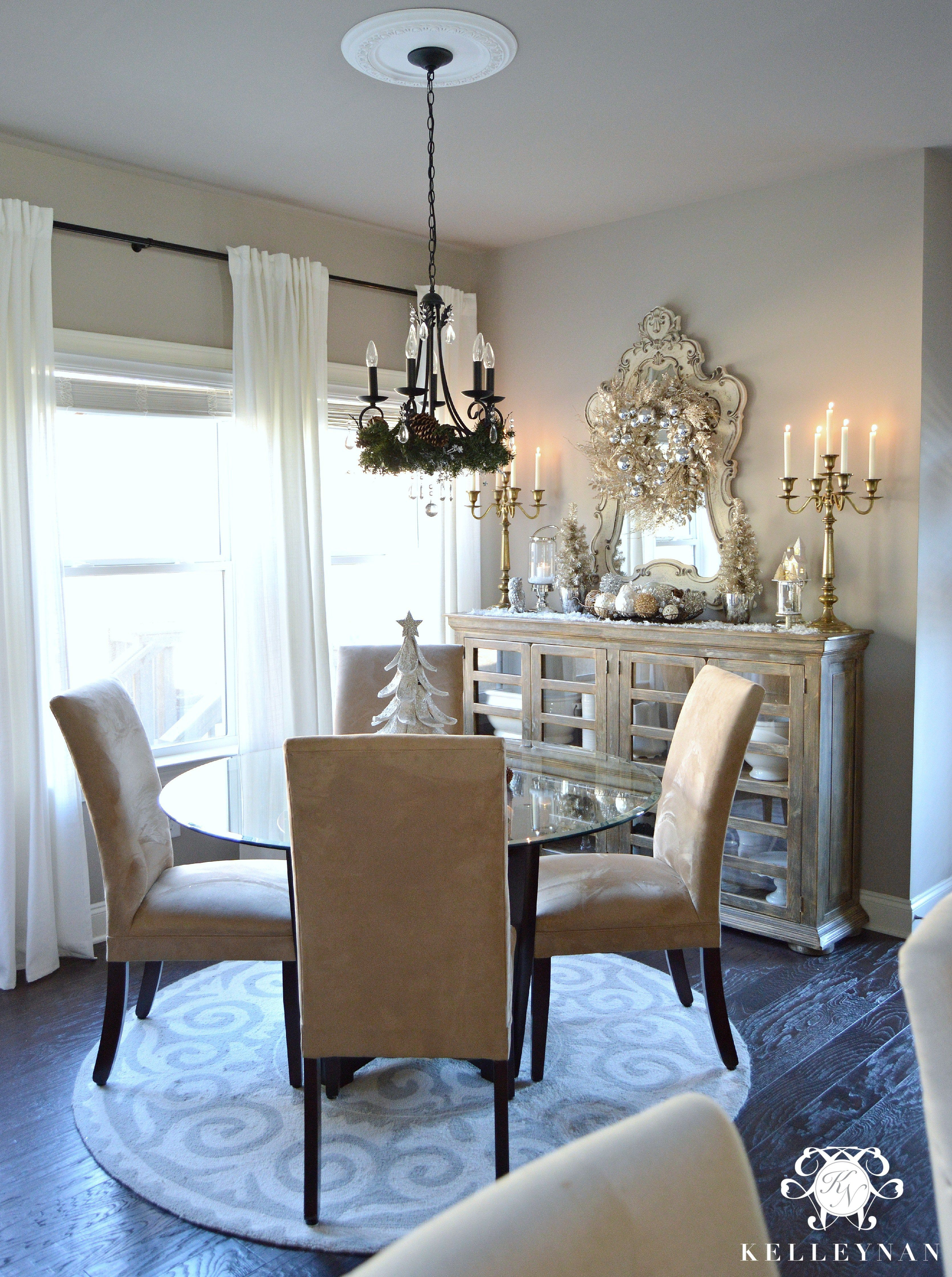Christmas Breakfast Room with neutral silver Gold and champagne