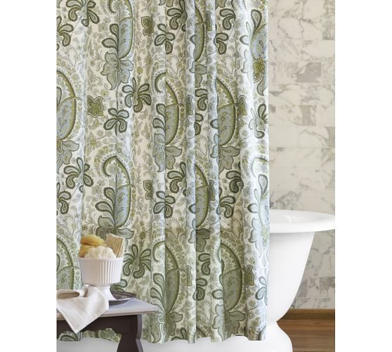 Pottery Barn Charlie Paisley Blue Green White Organic Cotton Shower Curtain  #PotteryBarn #Contemporary