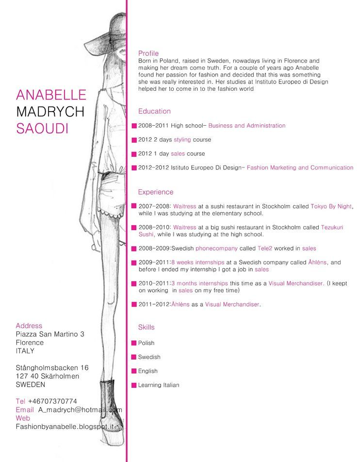 Risultati immagini per cv fashion Resume Pinterest Business - fashion brand manager sample resume