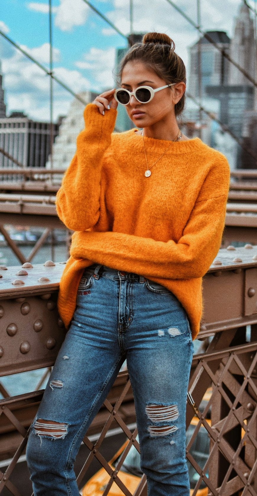 835fa49052  fall  outfits women s knitted orange sweater