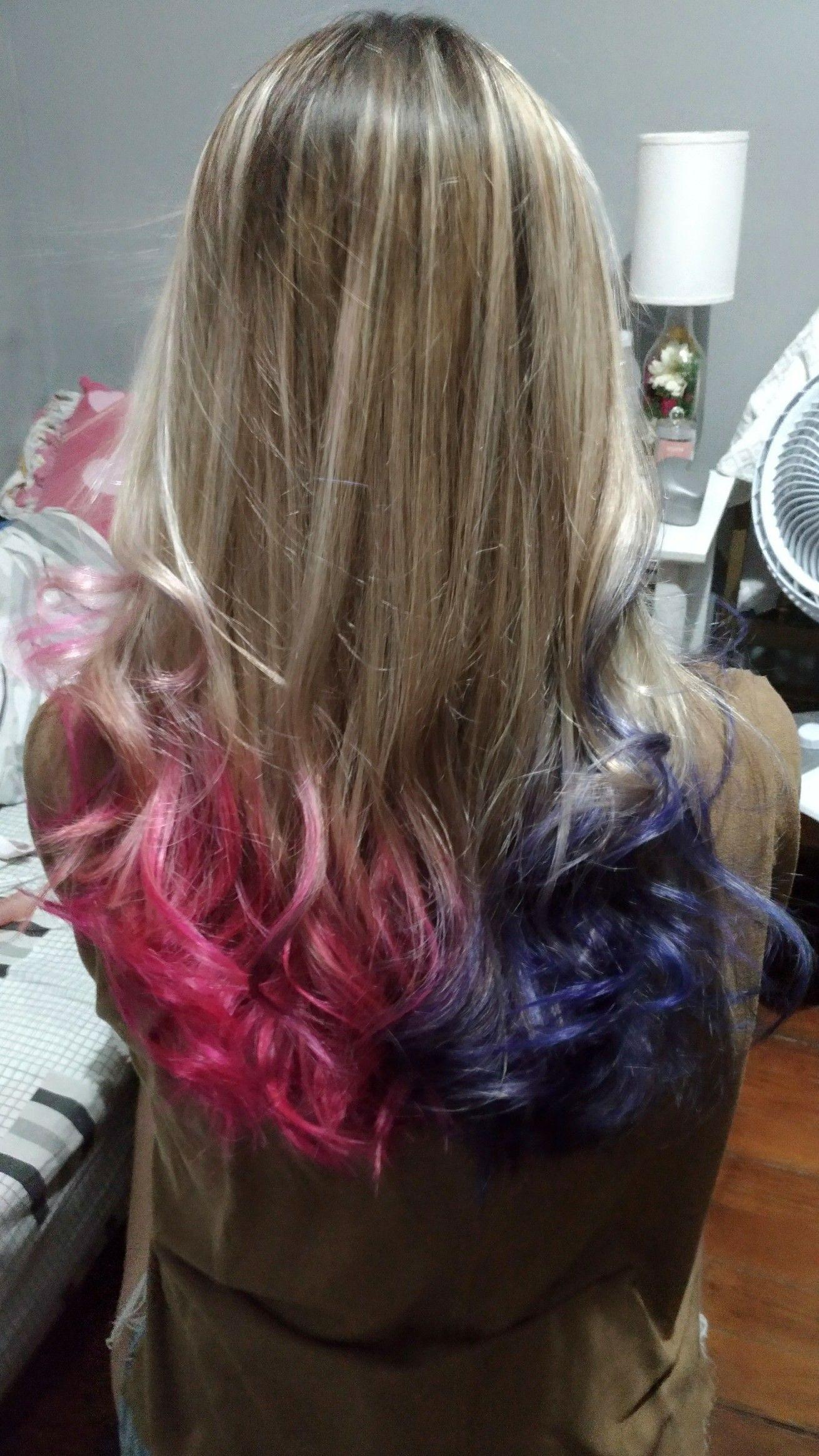Hair Rosa Azul Cabelo Arlequina Feito Por Leegurgel Cabelo Cabelo Azul E Rosa Cabelo Colorido