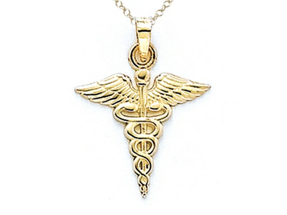 14kt Yellow Gold Caduceus Pendant Necklace - Chain Included