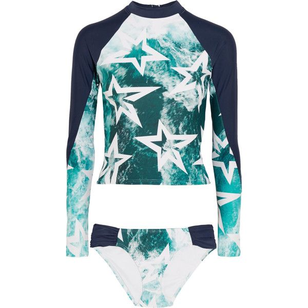 Perfect Moment Printed bikini (410 AUD) ❤ liked on Polyvore featuring swimwear, bikinis, navy, rashguard bikini, sport bikini swimwear, sports bikini, zipper bikini and mid rise bikini
