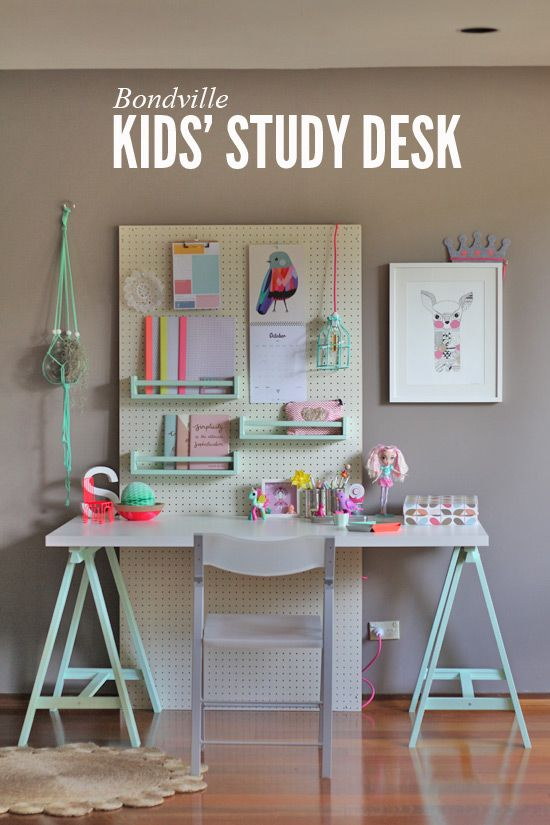 Bondville Flexible Kid S Study Space With Pegboard Kids Study Desk Kids Study Spaces Kids Study