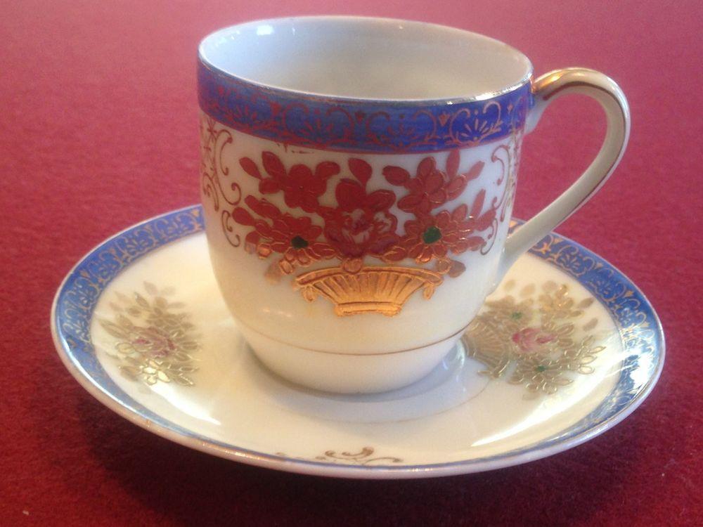 SGK Made in Occupied Japan China Demitasse Cup Saucer Set Gold Blue Floral #SGKMadeinOccupiedJapan #DemitasseCupandSaucer