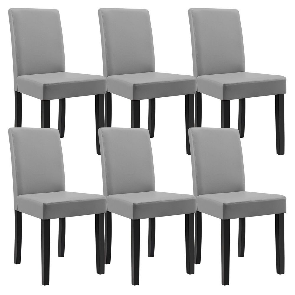 6x Ensa Chairs High Back Dining Room Light Grey Imitation