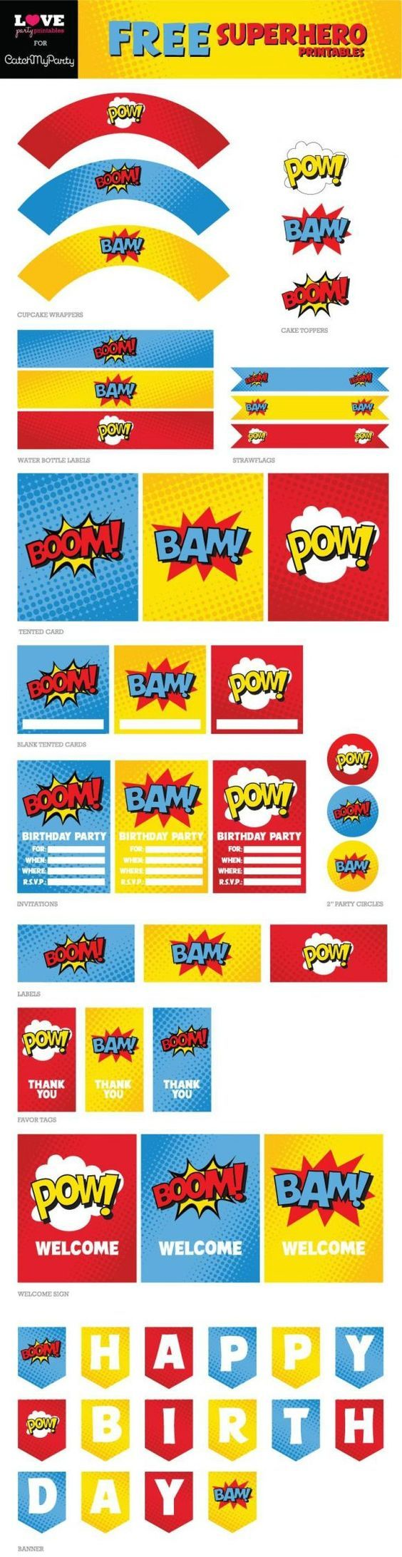 Free Superhero Party Printables Including Happy Birthday Banner