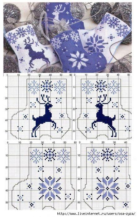 calze natale: | Punto de cruz - Navidad | Pinterest | Punto de cruz ...